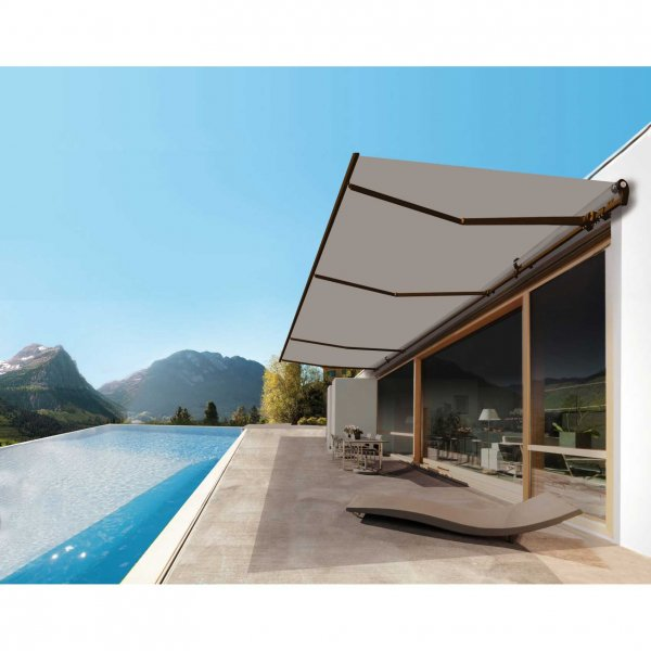 Monobloc awning with retractable