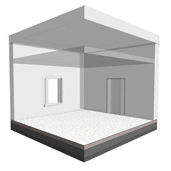 Forsterket betongplate på innsid