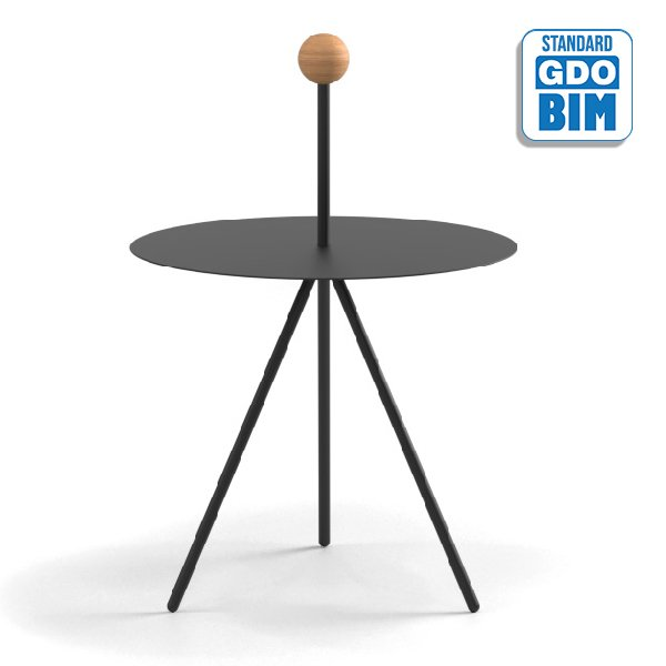 Trino Low Table Oak Sphere Model