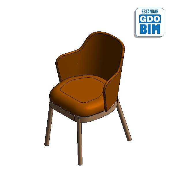 Aleta Chair with Armrest Wood Ba