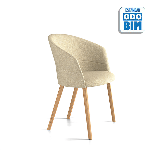 Copa Chair Four Wooden Legs Base