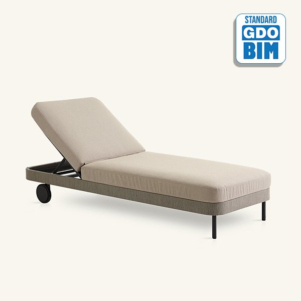 Kabu chaise longue with wheels J