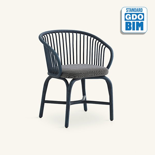 Dining armchair with metal legs