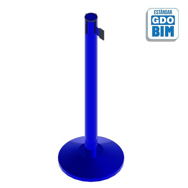 Poste separador azul con cinta e