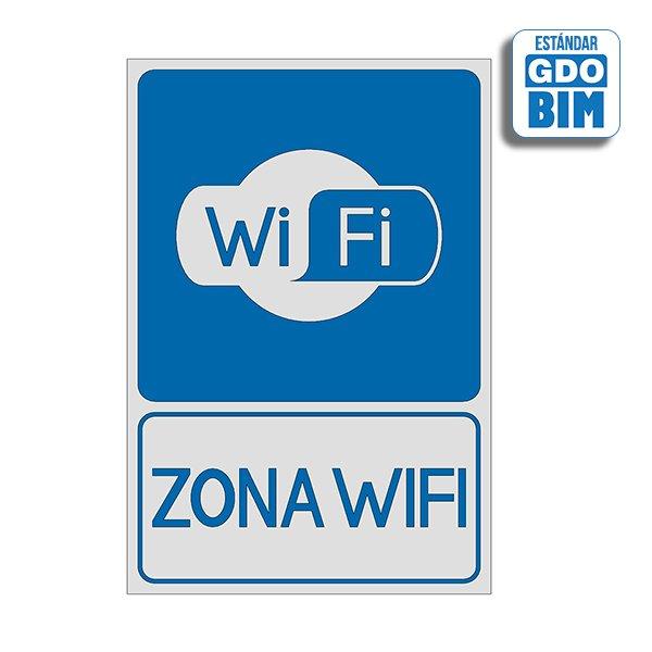 Señal Wifi con letrero azul