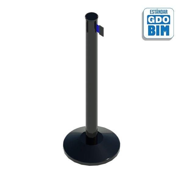 Poste negro con cinta azul